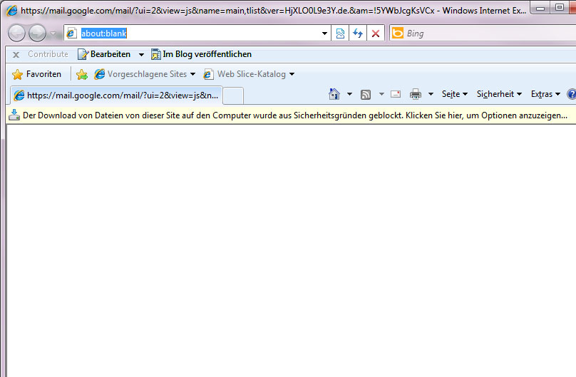 Google Mail Bug in IE