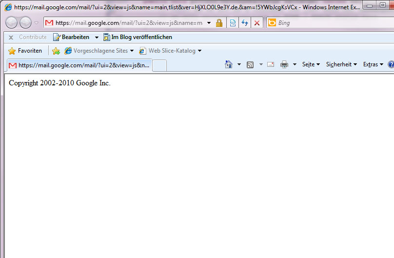 Google Mail Bug in IE - Reffered to empty Google page