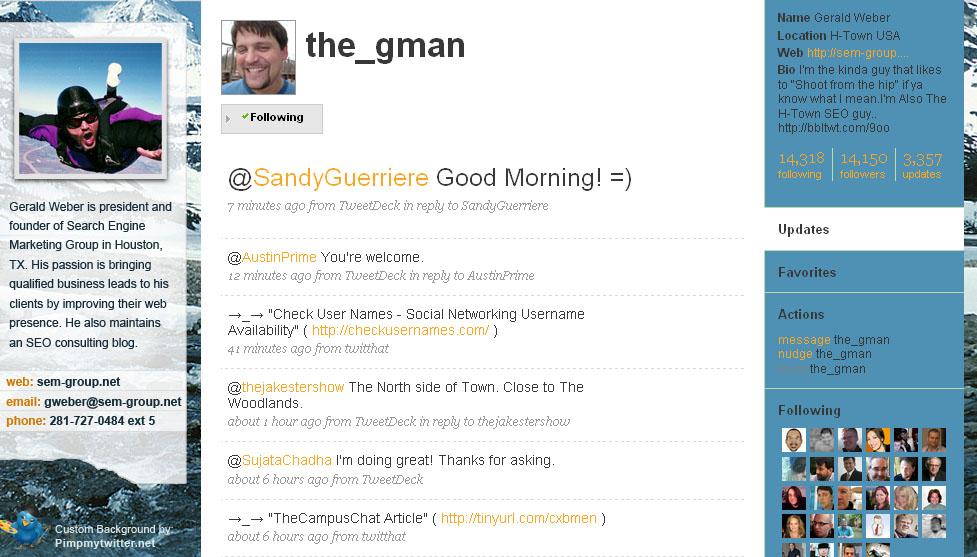 The gman twitter page